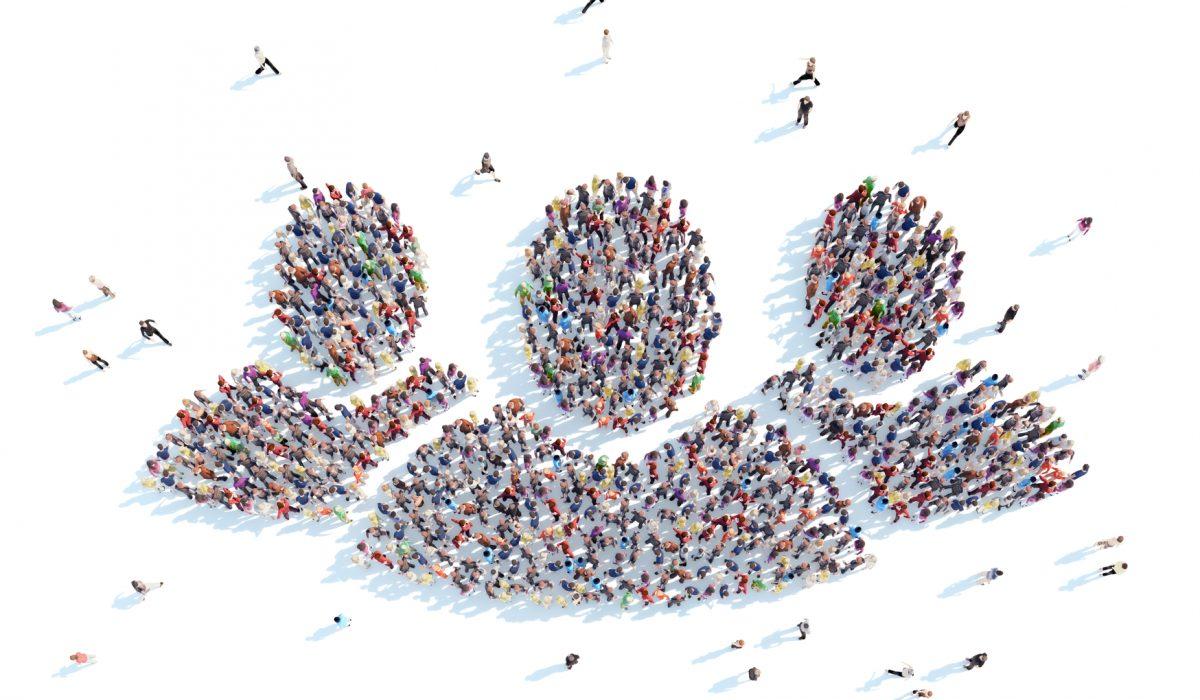 Große Gruppe von Menschen, die als Symbol für Menschen